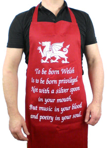 To Be Born Welsh Wales Theme Kitchen Barbeque Apron