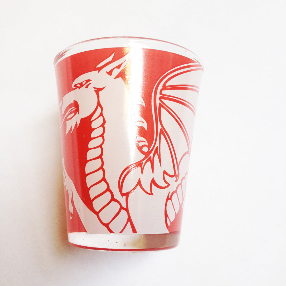 Wales Dragon Red Shot Shooter Glass