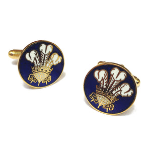 Prince of Wales Feathers Enamelled Metal Cufflinks [sjp] blue