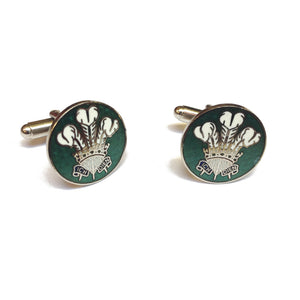 Prince of Wales Feathers Enamelled Metal Cufflinks [sjp] green
