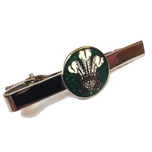 Prince of Wales Feathers Round Emblem Tie Clip [green-SJP]