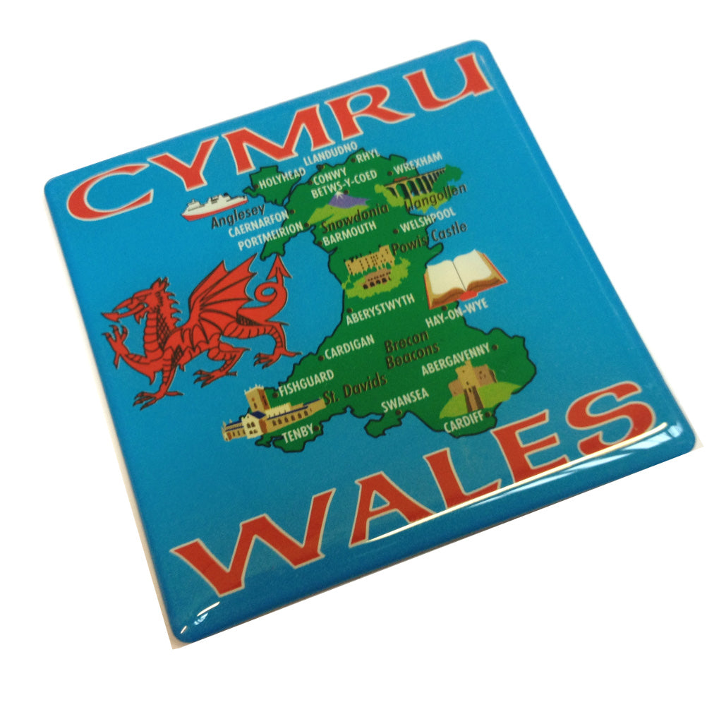 Map of Wales Square Fridge Magnet