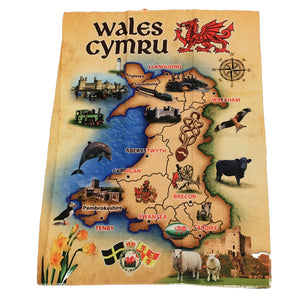 Wales Antique Map Printed Tea Towel [wt70]