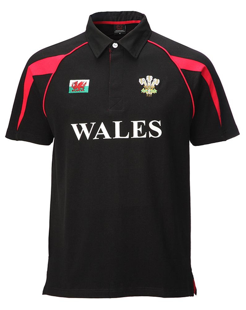 Wales Black Cotton Junior Rugby Shirt
