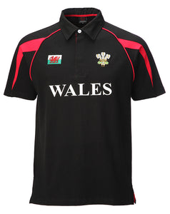 Wales Black Cotton Rugby Shirt