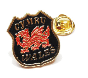 Welsh Dragon Black Shield Pin Badge [wb63]