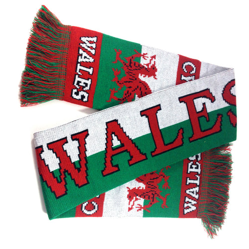 Wales Bold Split Knitted Acrylic Wool Supporter Scarf [wa161]