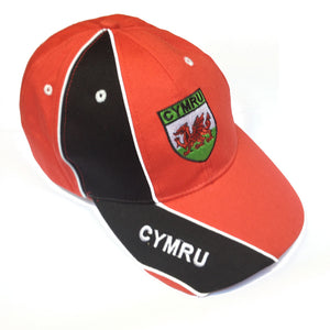 Black Stripe Cymru Flag Shield Baseball Cap [wa152]