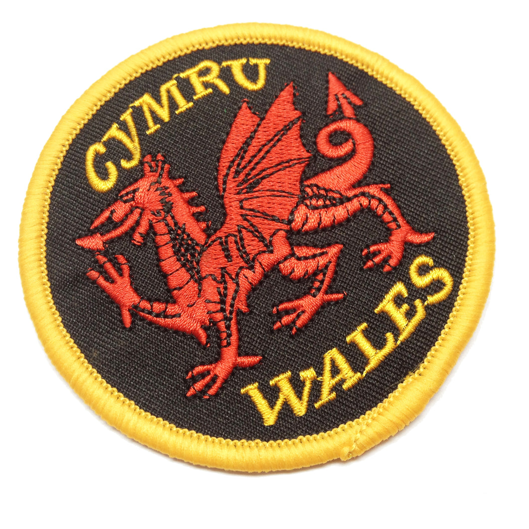 Red Dragon Black Round Embroidered Patch Badge [wb128]