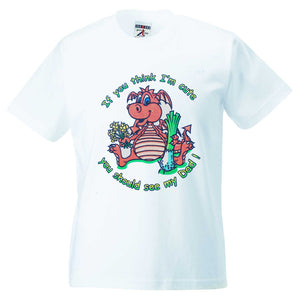 Welsh Dragon Cute Dad Childrens T-Shirt [g825]
