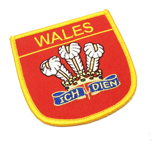 Wales Feathers Shield Embroidered Patch Badge [wb61] red/yellow