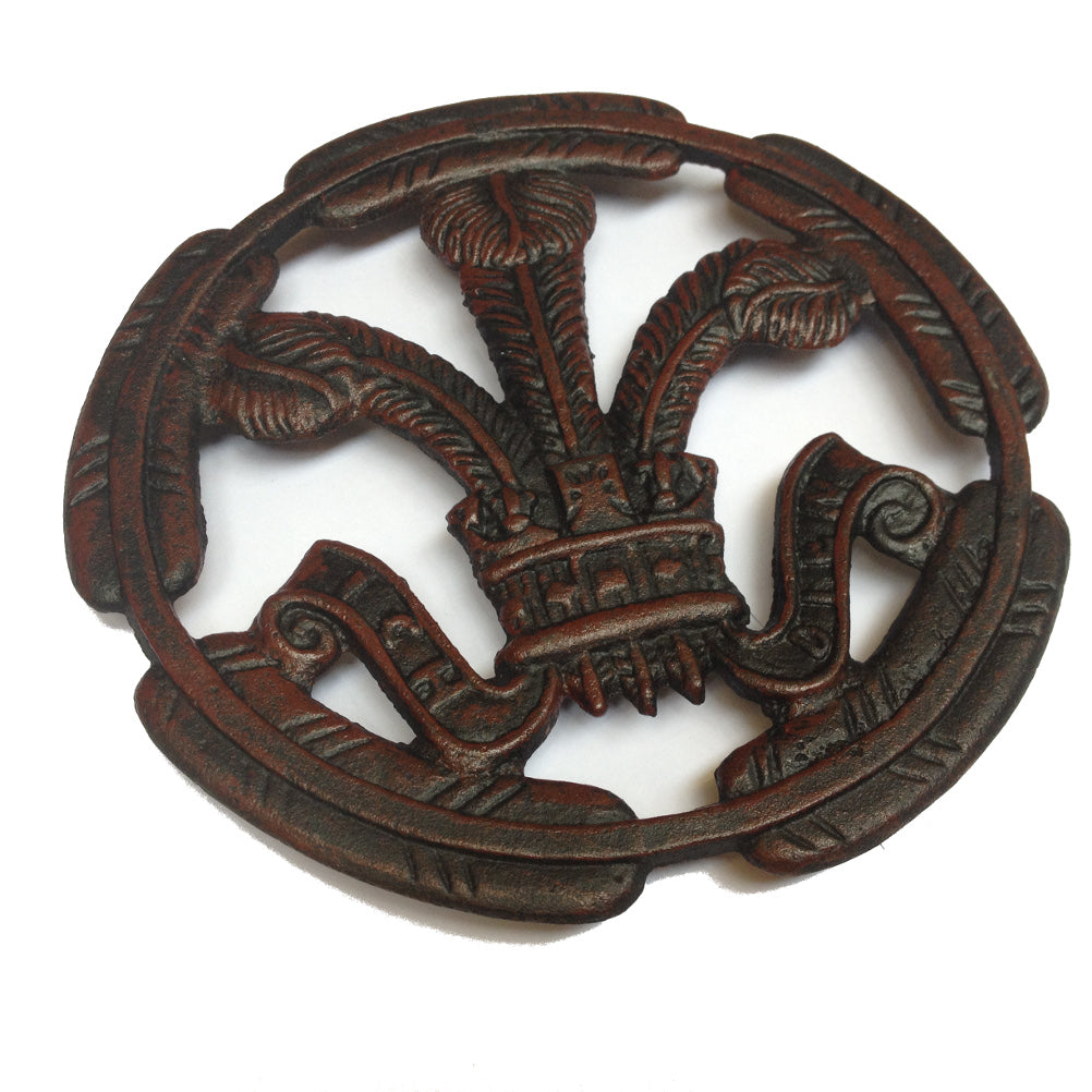 Prince Of Wales Feathers Cast Iron Round Trivet [wh8]