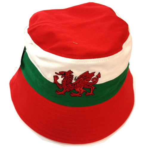 Wales Flag Embroidered Dragon Beach Bucket Hat [wa167]