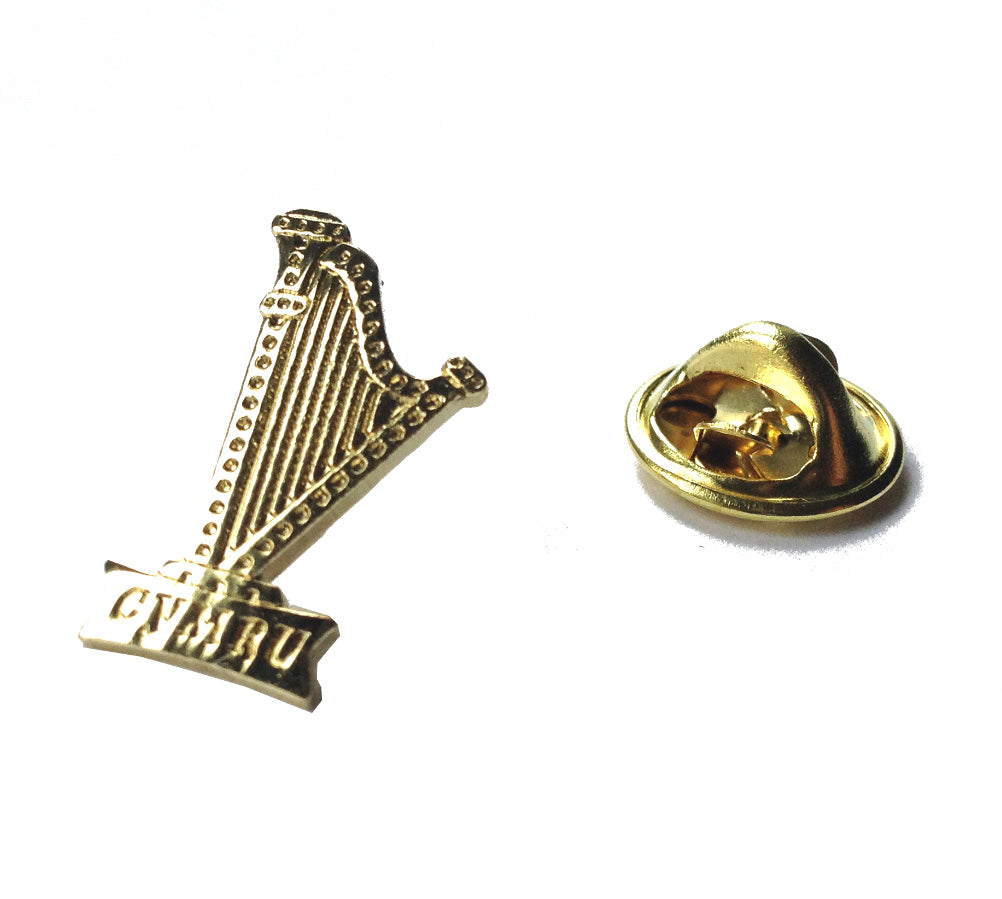 Wales Gilt Harp Metal Pin Badge [wb154]