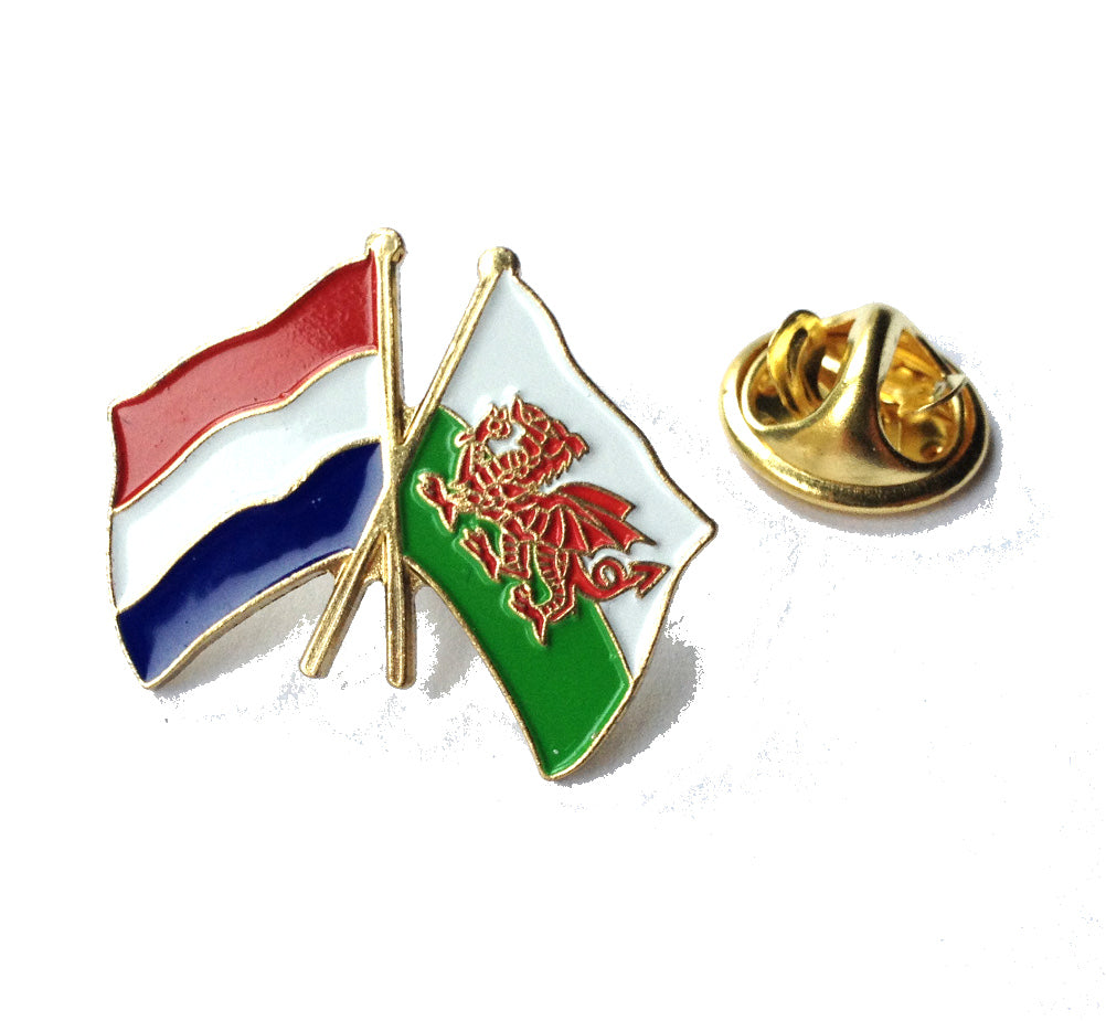 Wales / Holland Netherlands Friendship Pin Badge [wb46]