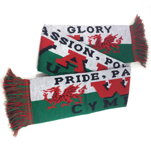 Wales Pride Passion Knitted Acrylic Wool Scarf [wa72]