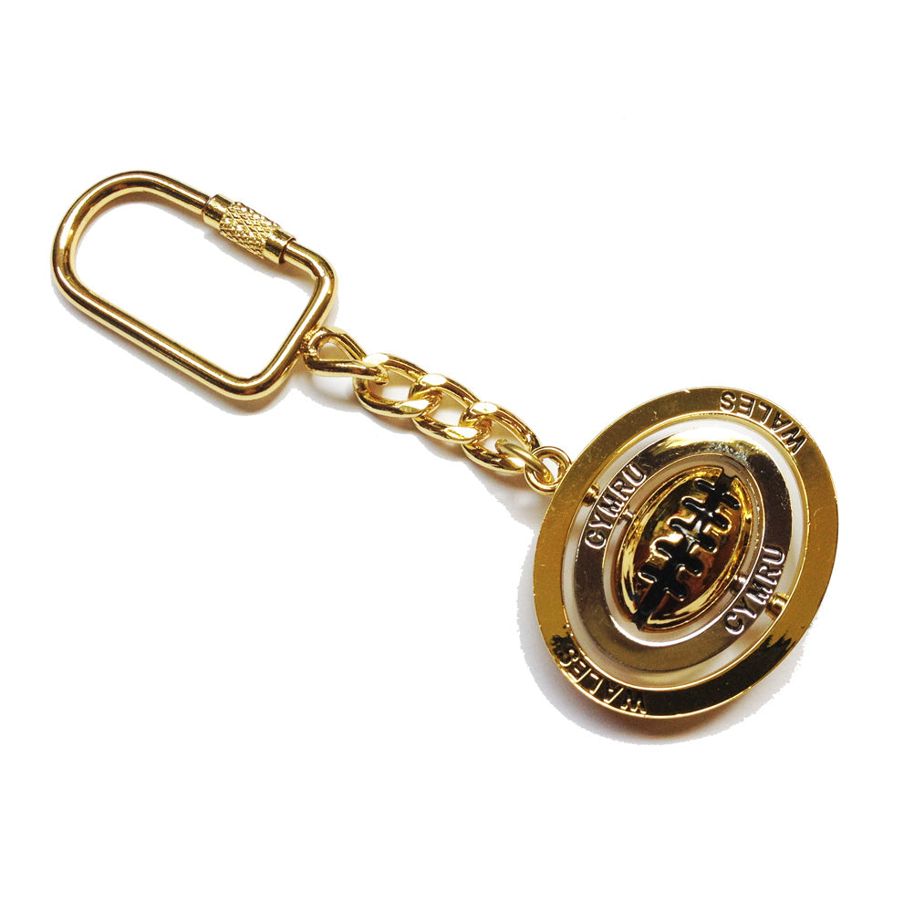 Wales Welsh Rugby Ball Triple Spinner Keyring [wk121]