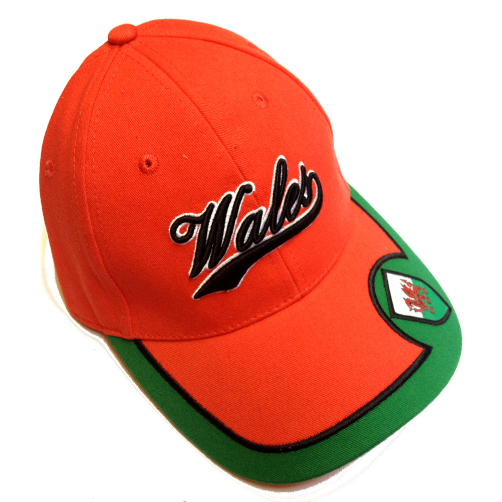 Wales Flag Shield Script Text Baseball Cap [wa148]