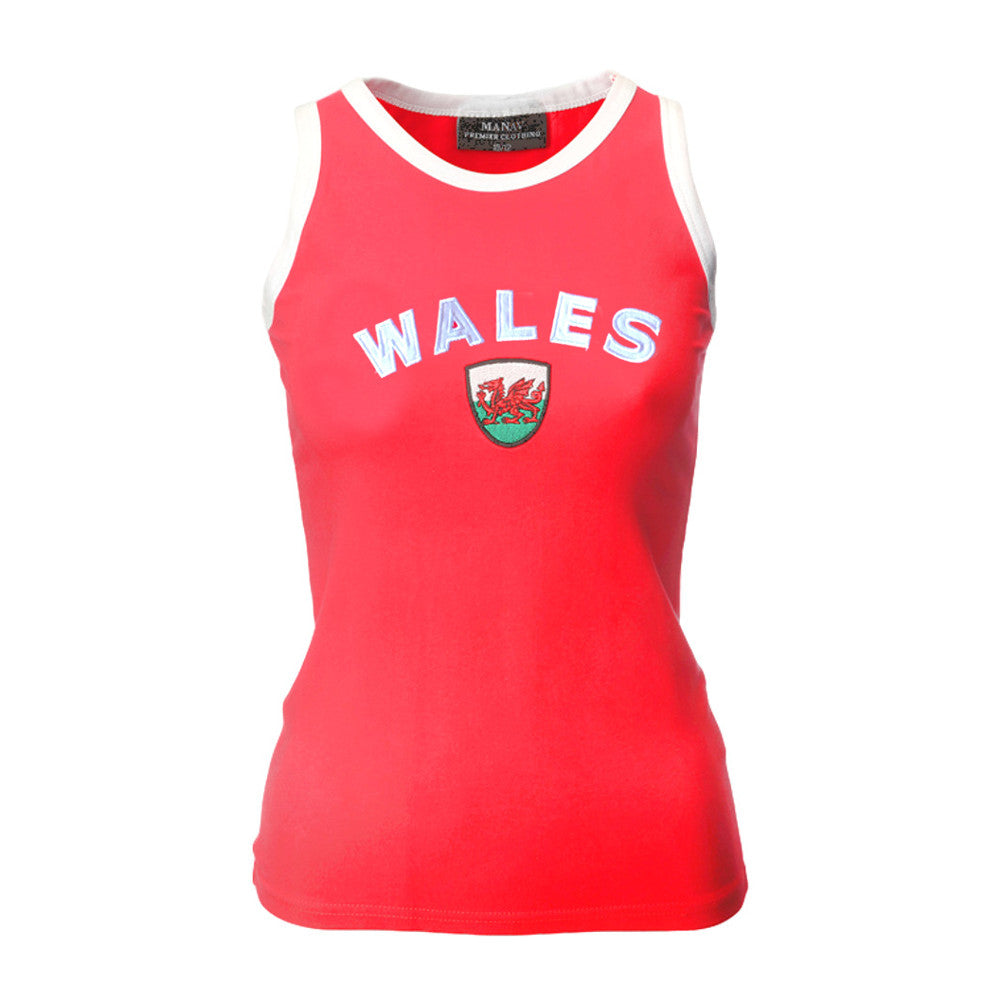 Welsh Flag Applique Ladies Vest Top