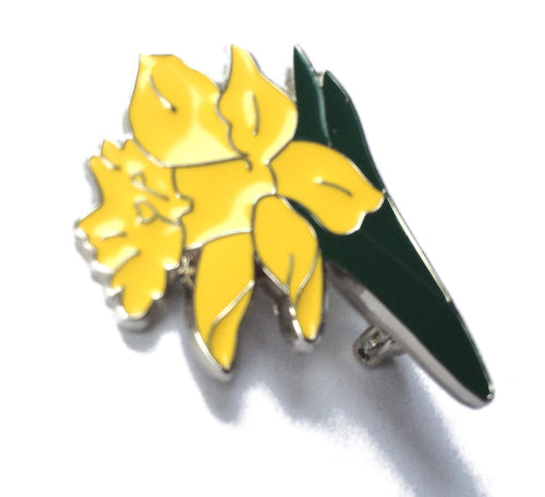 Wales Welsh Daffodil Metal Enameled Badge Brooch