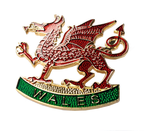Wales Welsh Dragon Metal Enameled Badge Brooch