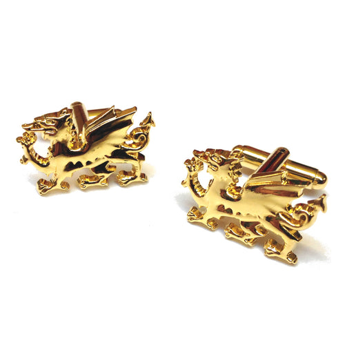 Wales Gold-Plated Welsh Dragon Cufflinks [3872]