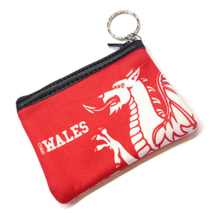 Wales Dragon Red Neoprene Zip-up Keyring Purse