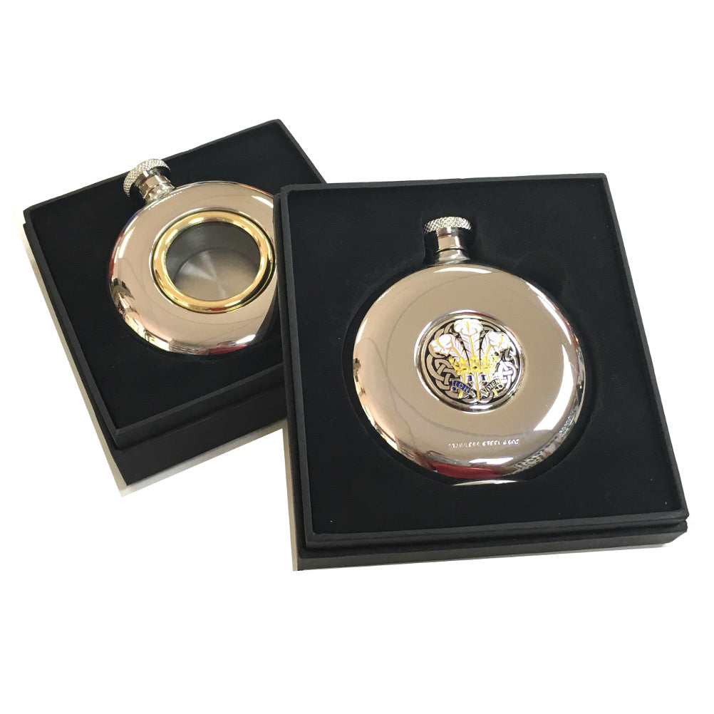 Celtic Wales Feathers Motif Round Stainless Steel Hipflask [RF4995]