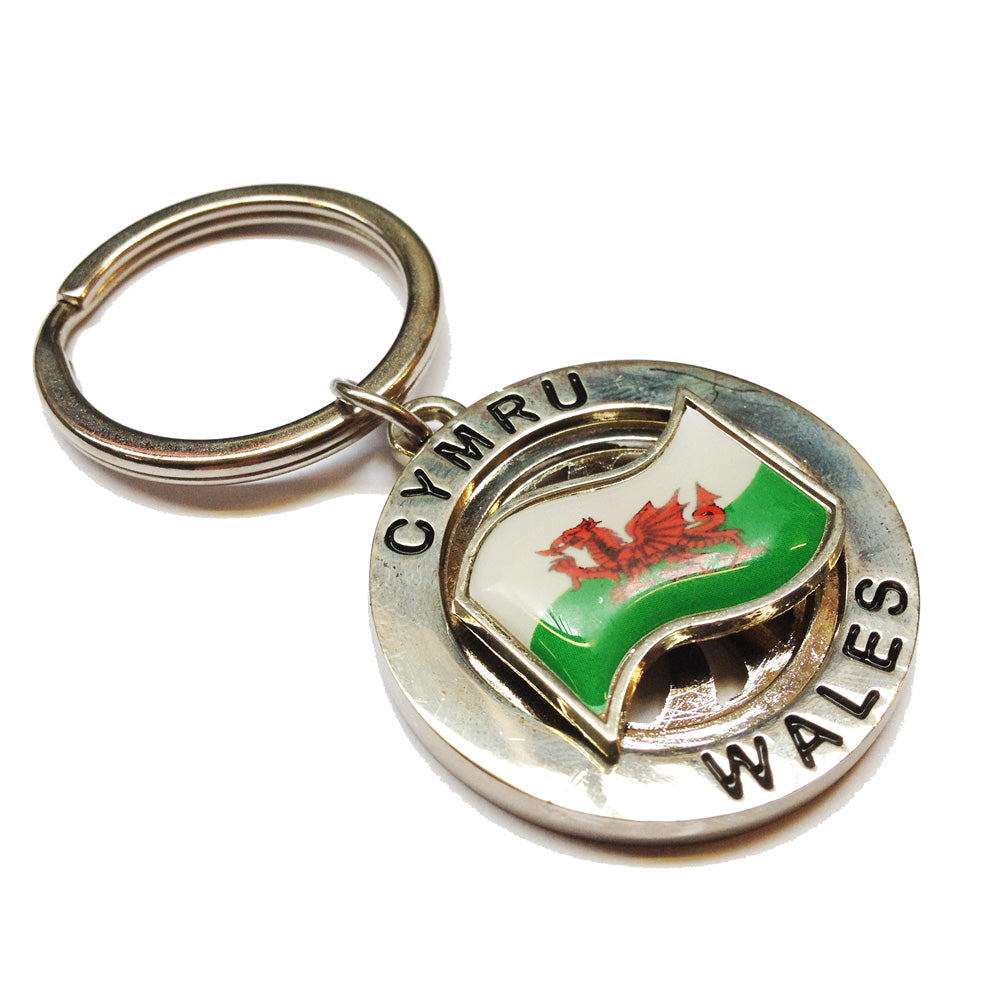 Welsh Flag Rotating Icon Circular Metal Keyring [wk255]