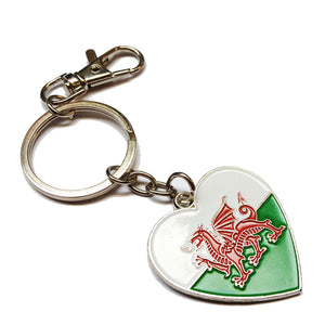 Welsh Flag Metal Heart-Shaped Keyring [otk]