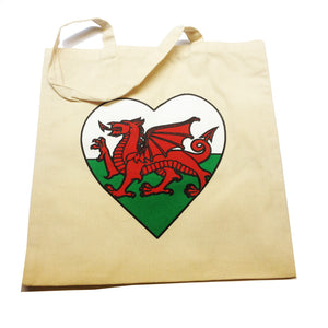 Welsh Dragon Flag Heart Shopper Bag