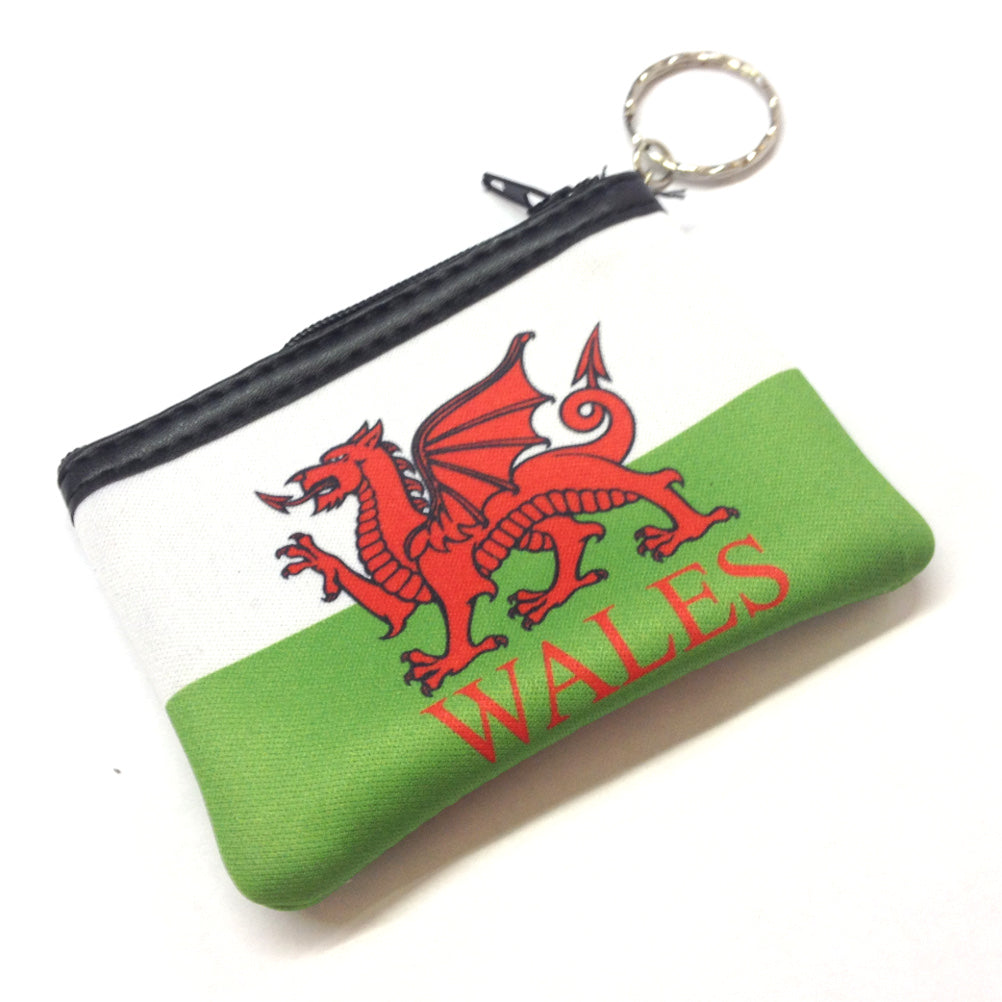 Welsh Flag Neoprene Zip-up Keyring Purse