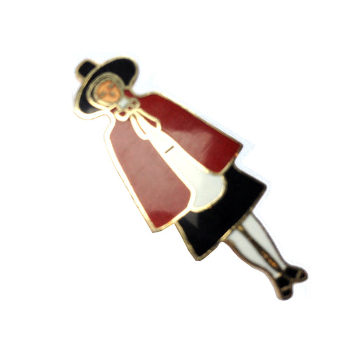 Welsh Lady Metal Enameled Badge Brooch