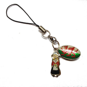 Wales Phone Charm - Welsh Flag & Welsh Lady
