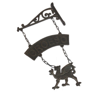 Wales Dragon Cast Iron Croeso Hanging Sign [wh22]