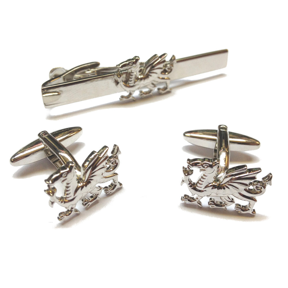 Welsh Dragon Cufflinks & Tieclip Set [wj69]
