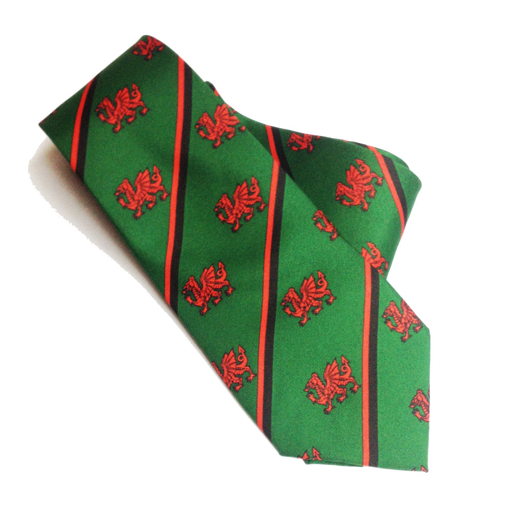 Wales Dragon Green Stripe Necktie [wa95]
