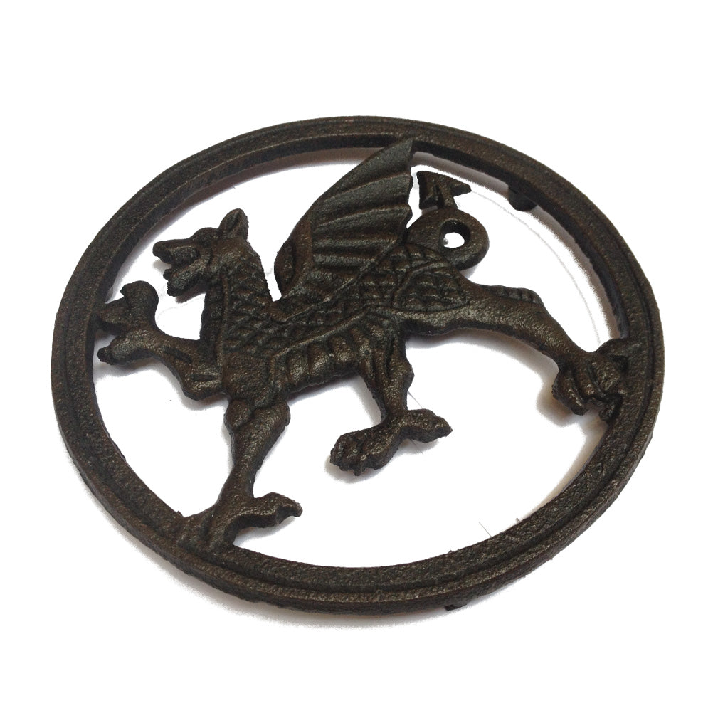 Wales Dragon Cast Iron Round Trivet [wh6]