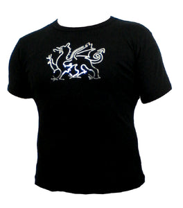 Ladies Sequin Welsh Dragon Black fitted T shirt top