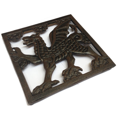 Wales Dragon Cast Iron Square Trivet [wh3]