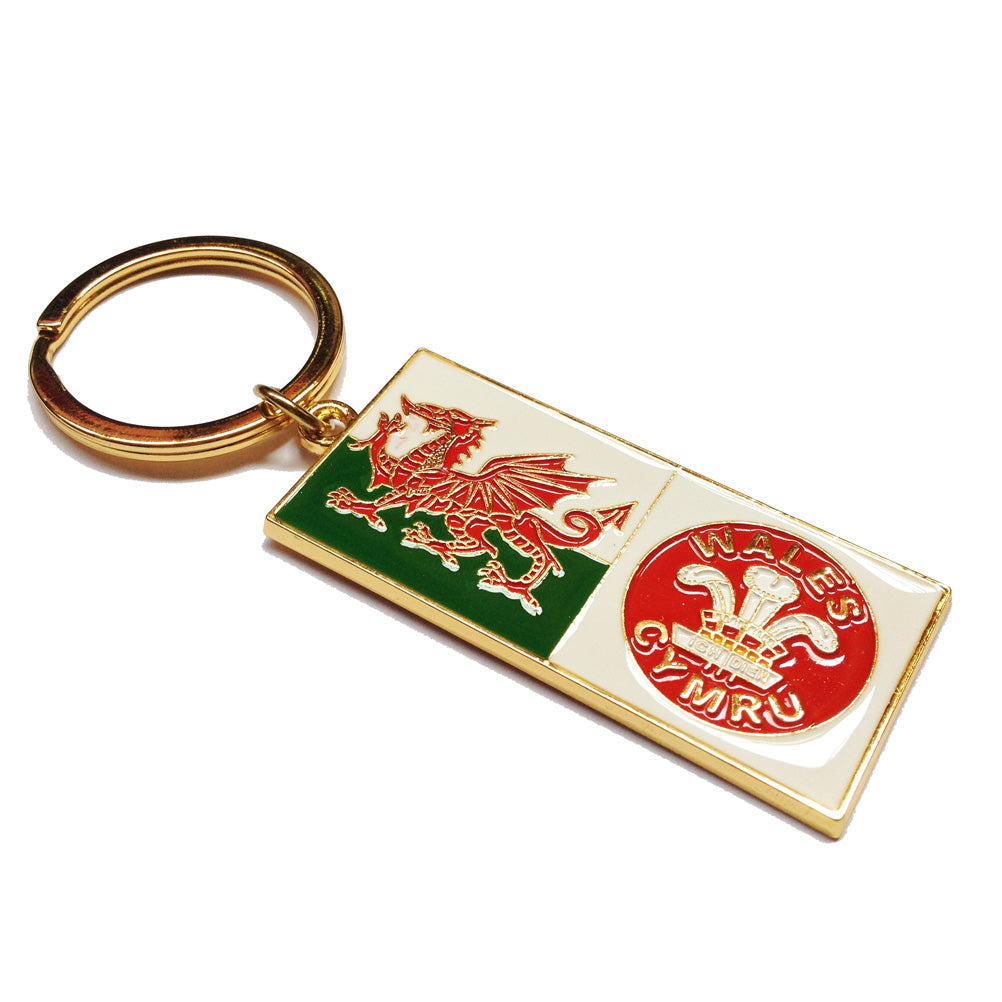 Welsh Flag & Three Feathers Metal Tag Keyring [wk15]