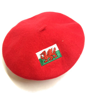 Wales Flag Embroidered Red Beret [wa122]