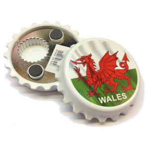 Welsh Flag Bottlecap Fridge Magnet Bottle Opener [wm494]