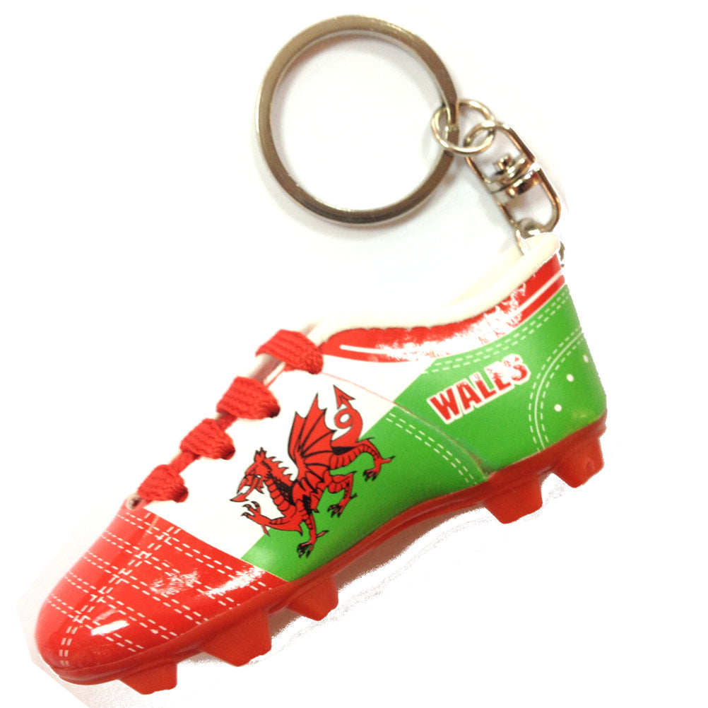 Welsh Flag Football Boot Keyring [wk308]