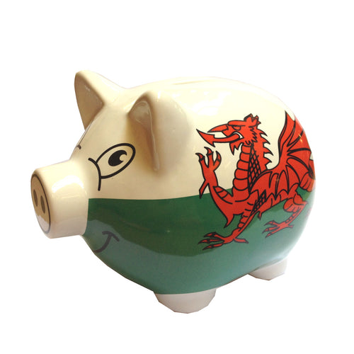 Wales Flag Ceramic Piggy Bank Money Box [wg332]