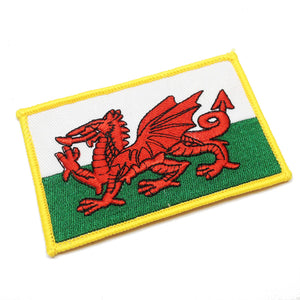 Wales Flag Oblong Embroidered Patch Badge [wb125]