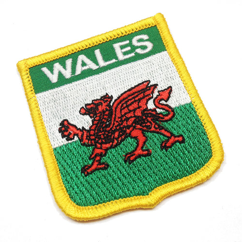 Wales Flag Shield Embroidered Patch Badge [wb130]