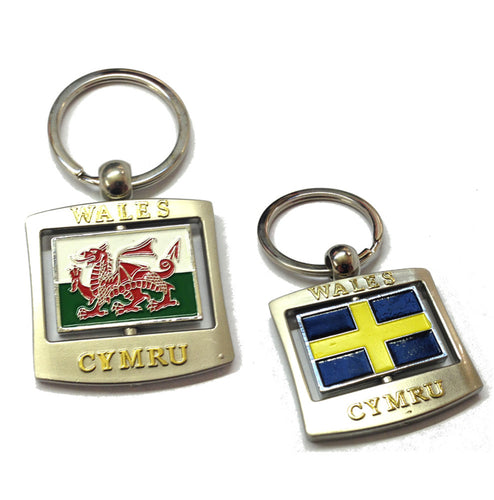 Welsh Flag St David Oblong Spinner Keyring [wk126]