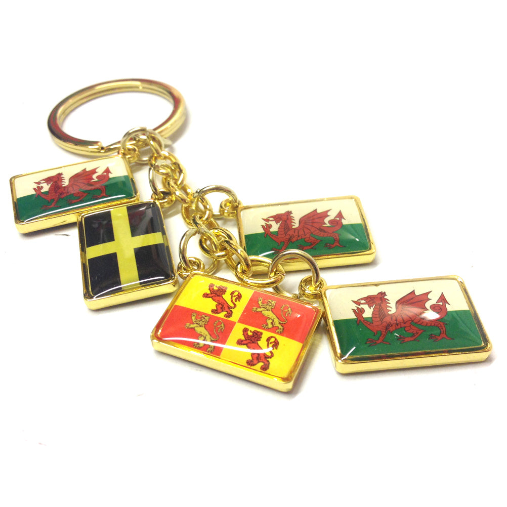 Flags of Wales Five Charm Metal Keyring [wk165]