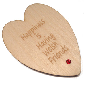 Welsh Friends Laser Etched Heart-Shaped Fridge Magnet